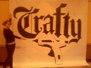 Sophia from Boston Band Crush showcases a huge Crafty logo